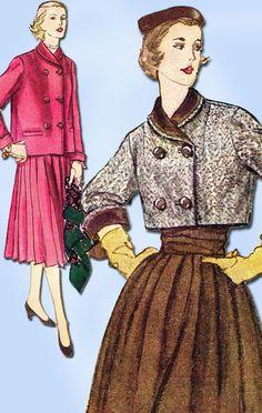 1950s Vintage Misses Suit Uncut 1952 Simplicity Sewing Pattern 8487 Size 16
