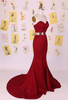 Dark Red Sweetheart Mermaid Long Prom Dress/Little Mermaid Evening Dress/Red Mermaid Prom Dress/Sexy on Luulla