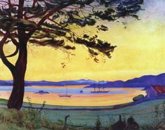 Harald Sohlberg - View of Helgeroa, date? - Norway. This painting reminds me of some Munch's artwork! They're both norwegian..