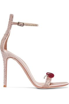 Gianvito Rossi - Crystal-embellished Satin Sandals - Antique rose - IT37
