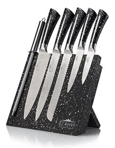 Leano Line Stainless Steel 7 Piece Kitchen Knife Set with Magnetic Wood Block Black GraniteLook -- You can find out more details at the link of the image.Note:It is affiliate link to Amazon.