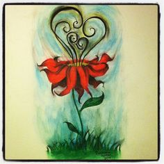 """""""Flow of Warmth"""" by Julianna Hunter. Done in watercolor and pencil. #flower#beautiful#art#watercolor#drawing"""