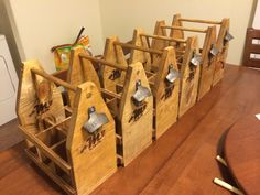 Wooden Six-Pack Beer Caddies Tutorial. These are actually handmade Groomsmen gifts made by the groom, but these would also be fun in asking the guys to be in your wedding!