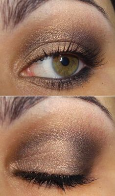Try the smoky eye technique, but with shimmery browns for a softer effect that still has plenty of drama. Start with a shimmery gold on the inner corner of your eyes and lids, then take two or three different browns and go over the crease and outer corners. This eye makeup will pair perfectly with rosy cheeks for a fresh-faced look.
