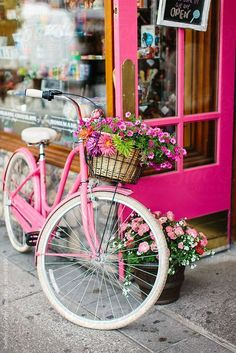 A pink cruiser bike with flowers infront of a candy store by Kristen Curette Hin. - A pink cruiser bike with flowers infront of a candy store by Kristen Curette Hines for Stocksy United - ? Flower Wallpaper, Wallpaper Backgrounds, Easter Wallpaper, Bicycle Pictures, Pink Bike, Bicycle Art, Bicycle Drawing, Wooden Bicycle, Bicycle Painting