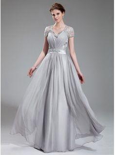 Vestidos de princesa / Formato Um decote V Longos De Tafetá Vestido de festa com Pregueado Renda Bordado (017019722) - JJsHouse