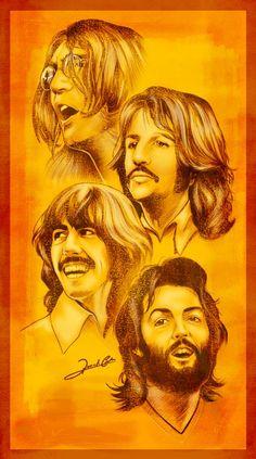 the-beatles by Renato Cunha Les Beatles, Beatles Art, Beatles Photos, Ringo Starr, John Lennon, Great Bands, Cool Bands, Rock And Roll, Comic Cat