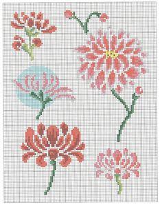 fleur 3 * point de croix * cross stitch flower
