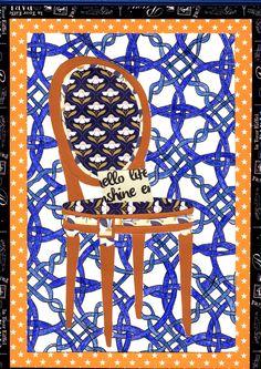illustration papierA4 collage et crayon de couleur pour le fond , titre fauteuil.