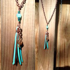 Wire wrapped turquoise & brown leather with by TexasMadeJewelry