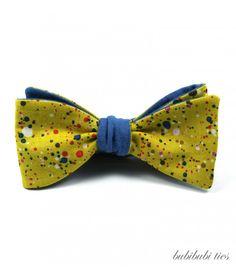 Yellow/blue reversible bowtie by bubibubi ties