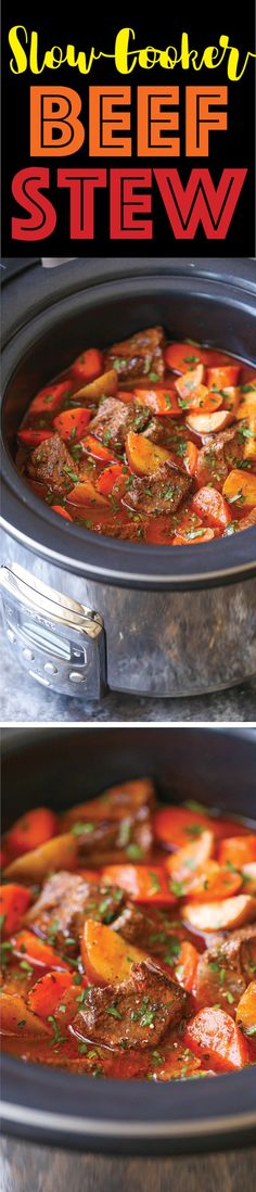 It's seriously SO YUMMY! Slow Cooker Beef Stew - Everyone's favorite comforting beef stew made easily in the crockpot! The meat is SO TENDER and the stew is rich, chunky and hearty! Crock Pot Slow Cooker, Crock Pot Cooking, Slow Cooker Recipes, Crockpot Recipes, Soup Recipes, Dinner Recipes, Cooking Recipes, Recipies, Crock Pots