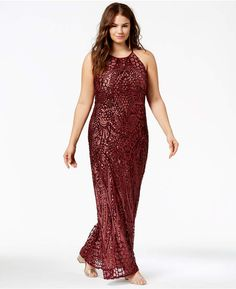 Trendy Plus Size Sequin-Patterned Backless Gown