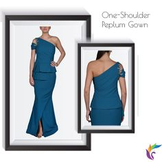 Rock any Corporate Event wearing this One-Shoulder Peplum Gown  Product Description  Blue Peplum Gown Zardosi Embroidery with Swarovski crystals One Shoulder Half Sleeves (Cold Shoulder)