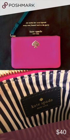 """🎉HOST PICK 👛BEST IN BAGS🛍Kate Spade wristlet ♠️ Kate Spade wristlet hot pink with black bow strap. 6 1/2"""" X 4"""". Fits an iPhone 6s. EUC comes with dust bag. kate spade Bags Clutches & Wristlets"""