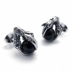 Claw Black Gem Titanium Earrings 20474
