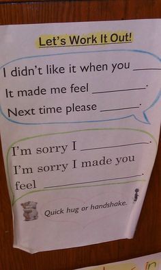 Simple and concise sentence frames to help graders with conflict resolution. Simple and concise sentence frames to help graders with conflict resolution. Coping Skills, Social Skills, Behavior Management, Classroom Management, Education Positive, Physical Education, Conscious Discipline, School Social Work, Classroom Behavior