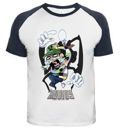 This is a long,medium,white and black,short sleeve ,crew neck t-shirt.The t-shirt has rubius print to on the waist