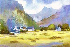 Watercolour Print, Cottages, Nant Peris, Snowdonia, North Wales, UK, Landscape, Xmas Gift Idea Art and Collectibles