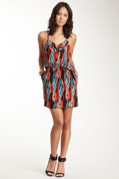 Racerback Ruffle Silk Dress