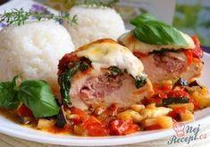 Autor: Naďa I. Czech Recipes, Ethnic Recipes, Tasty, Yummy Food, Meat Chickens, Party Snacks, Mozzarella, Curry, Goodies