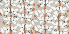Ilsa (W376/02) - Romo Wallpapers - Inspired by a Matisse cut-out, this fresh stylised trail is printed in contemporary colour combinations. Shown here in white, orange and charcoal grey on a light grey background. Other colourways are available. Please request a sample for a true colour match.