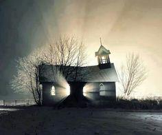 amazing sun rise threw a abandon church
