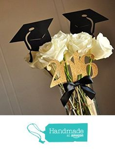 Graduation Party Decoration. Black and Gold Centerpiece for Graduation Party 3CT. from Confetti Momma http://www.amazon.com/dp/B0160B7BLI/ref=hnd_sw_r_pi_dp_4BVixb18DHMP6 #handmadeatamazon