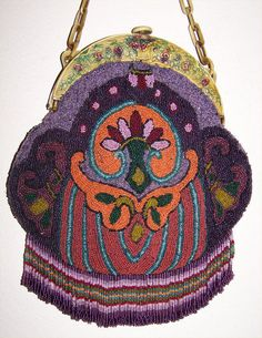 1920s Deco Celluloid Basket Figural Frame Purples and Sherbert Colors Beaded Flapper Purse with Fab Fringe