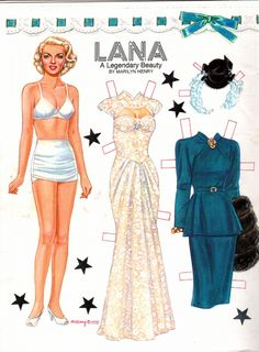 Lana Turner by Marilyn Henry* The International Paper Doll Society by Arielle… Lana Turner, Will Turner, Barbie Paper Dolls, Vintage Paper Dolls, Paper Cutting, Diy Paper, Paper Art, Paper Crafts, Free Paper