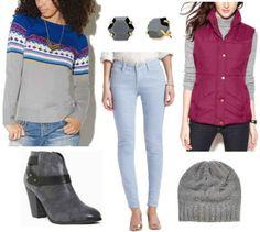 Fair isle sweater, jeans, black shoes, black earrings, purple vest, grey beanie