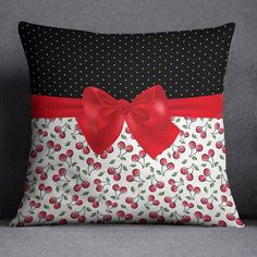 Decorative Pillows 822118106964744656 - Rockabilly Polka Dot Cherries and Bow Decorative Throw Pillow Cover – Ink and Rags Source by lovvelondon White Pillow Covers, White Pillows, Diy Pillows, Throw Pillow Covers, Cushion Covers, Sewing Throw Pillows, Pillow Crafts, Shabby Chic Pillows, Handmade Pillows