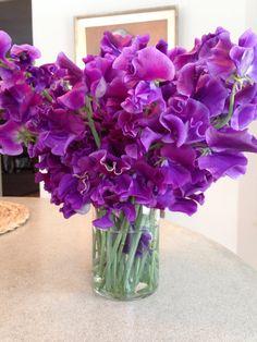 Simple vase of purple sweet peas!