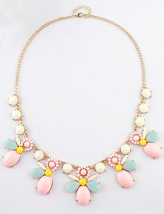 White Red Gemstone Gold Chain Necklace US$8.13