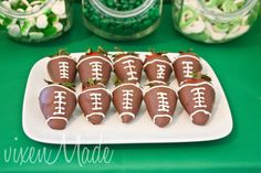 Chocolate strawberry footballs at a Football Party #football #strawberry