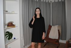 LLOYD Clothing Long Sleeve Dress in black cotton.