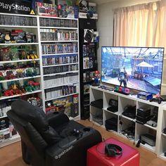 xbox one Big Kid Games Sala Nerd, Video Game Organization, Video Game Storage, Interior Design Games, Geek Room, Otaku Room, Bedroom Setup, Gaming Room Setup, Video Game Rooms