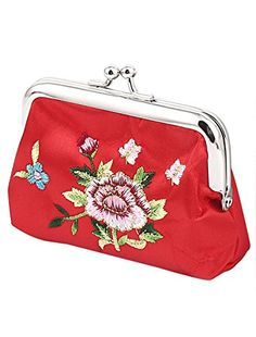 uxcell Floral Embroidery Lady Coin Change Purse Money Pouch Holder Wallet Red *** For more information, visit