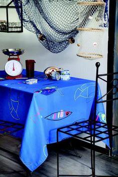 Stof - Nappe enduite FISH - 100% Coton Bed, Furniture, Rose, Home Decor, Store, Tablecloths, Linens, Fish, Cotton