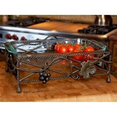 Wrought Iron Vineyard Server - Place a 9 dish straight from the oven into this sturdy, heat-proof base and watch it add dazzle to your serving lineup. Grape Trellis, Cook Book Stand, Pan Sizes, Iron Decor, Cake Creations, Serveware, Italian Style, Wrought Iron, Grape Vines
