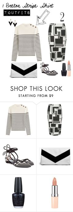 """""""1 Breton Stripe Shirt 7 Outfits no. 2: Mixed Prints"""" by irene-ireen ❤ liked on Polyvore featuring Philosophy di Lorenzo Serafini, Dorothy Perkins, Pierre Hardy, Boohoo, OPI, Rimmel and stripedshirt"""