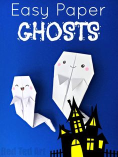 Easy Origami Ghost Garland - how CUTE are these paper ghosts? They make a great little Paper Halloween Decoration - on their own - or strung up as little garland. They are also fabulously SPOOKY Bookmarks for Halloween. So cute. Learn how quick and easy these Origami Ghosts are to make!