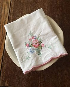 Vintage Embroidery Pillow Case 1980 by TheGreenPaintedClock
