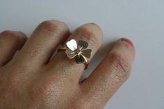 Poppy Ring, Silver Flower Ring, Brass Ring, Golden Ring, Hammered Ring, Flower Ring, Silver Flower, Gift for Her, Girls Ring, Statement Ring