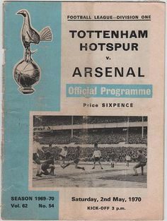 Vintage Football (soccer) Programme - Tottenham Hotspur v Arsenal, 1969/70 season