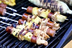 Fire up the grill for these colorful & tasty Chicken Pineapple Sausage Kabobs with a peanut butter hot sauce marinade. They are quick, easy, and delicious. Healthy Grilling Recipes, Kabob Recipes, Snack Recipes, Cooking Recipes, Grill Recipes, Easy Recipes, Grilled Shrimp Kabobs, Grilled Food, Crab Pasta Salad
