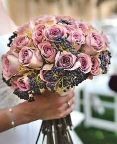 {Wonderful Bridal Bouquet Showcasing Gorgeous Amnesia Roses & Blue Privet Berries}