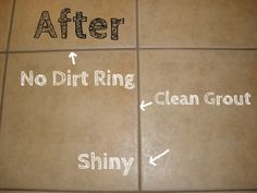 Homemade Tile and Grout Cleaner Ingredients: 4 cups water 1/4 cup baking soda 1/4 cup lemon juice 1/2 cup vinegar Directions: 1. Combine all ingredients in a spray bottle 2. Put water in last 3. Spray solution onto tile and grout 4. Allow cleaning solution to sit for 5 minutes 5. Scrub dirt/grime away using sponge or large scrubber 6. After scrubbing, wash with water
