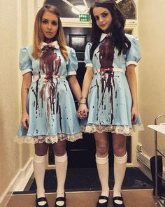 50 Best Friend Group Halloween Costume Ideas For Girlfriends - Hello Bombshell! - - Looking for a clever Halloween costume idea for you and your Best Friend(s)? Here are ideas cute, clever, and unique women's Halloween costume ideas for girlfriends. Terrifying Halloween Costumes, 3 Person Halloween Costumes, Halloween Outfits, Easy Costumes, Original Halloween Costumes, Girl Duo Costumes, Creepy Doll Costume, Couple Costumes, Halloween Costumes Bestfriends