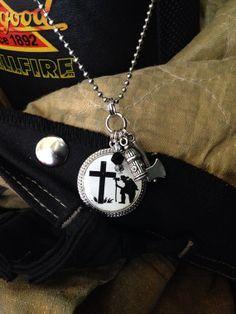 Kneeling Firefighter at the Cross pendant by FireSpiritandSoul, $25.00